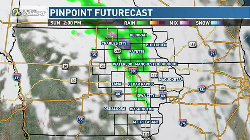 A few showers are possible north of Highway 30.