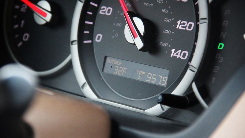 A car's instrument panel.
