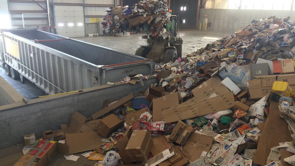 The Resource Recovery building at the Cedar Rapids-Linn County Solid Waste Agency.  Operators estimate about 7 to 10% of items in the recycling pile don't belong here.
