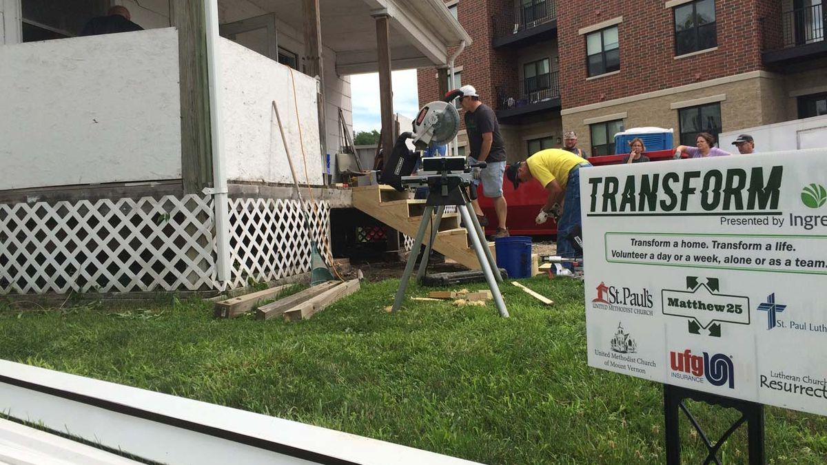 Volunteers from Ingredion work on a home near the processing plant on Monday, June 25, 2018. ...