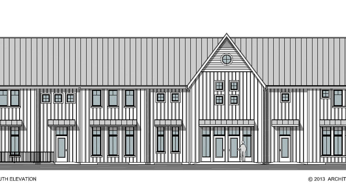 A rendering of the common house, one of the buildings Iowa City Cohousing is putting up to...