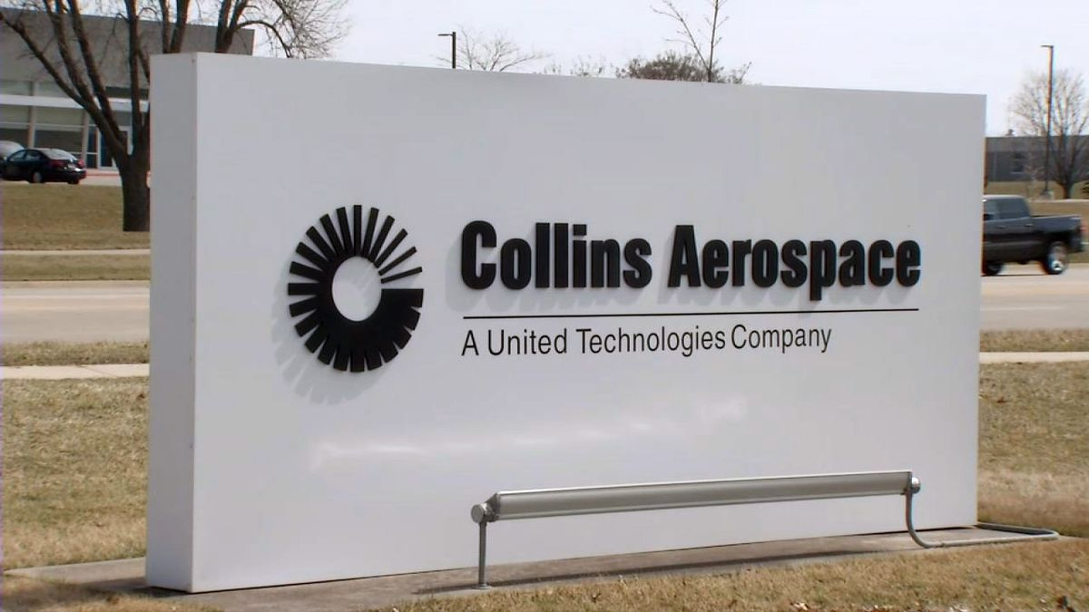 A sign for Collins Aerospace on their campus in Cedar Rapids on Tuesday, March 24, 2020 (Taylor Holt/KCRG)