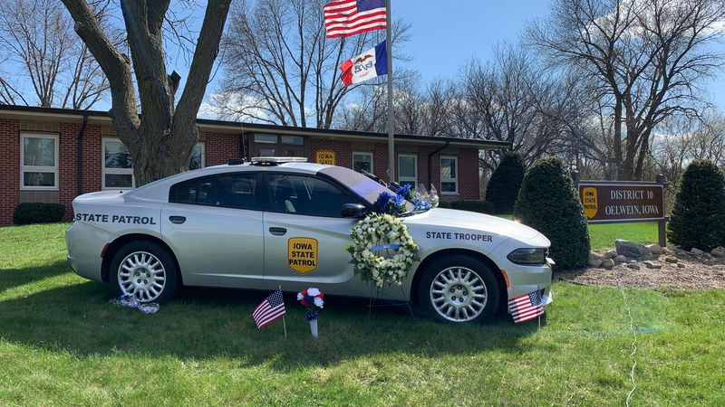 Sgt. Jim Smith's car is parked outside the Iowa State Patrol post in Oelwein on April 12, 2021.
