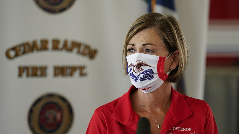 Iowa Gov. Kim Reynolds speaks during a news conference, Friday, Aug. 14, 2020, in Cedar Rapids,...