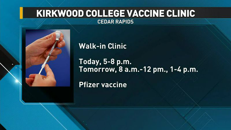 COVID vaccine clinic at Kirkwood Community College