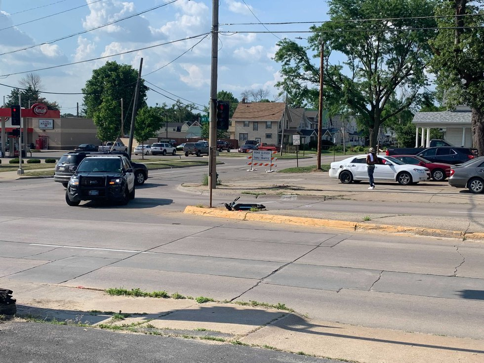 Crews responded to an accident in Cedar Rapids involving an e-scooter on Wednesday, June 9, 2021.
