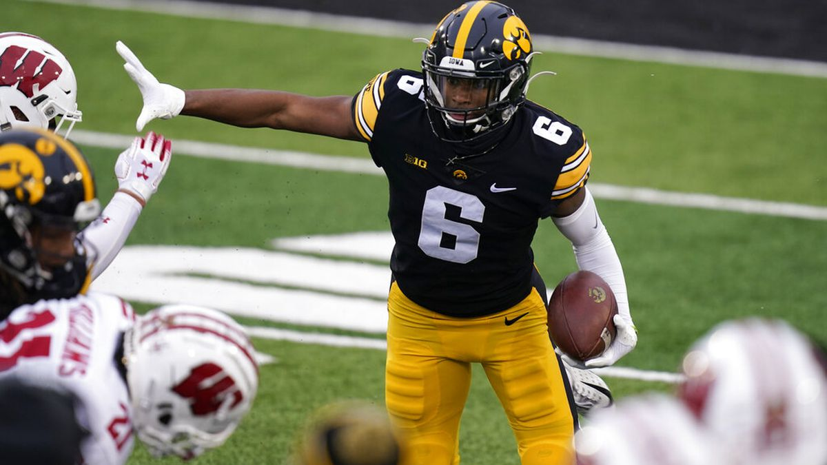 Iowa wide receiver Ihmir Smith-Marsette runs up field during the first half of an NCAA college...