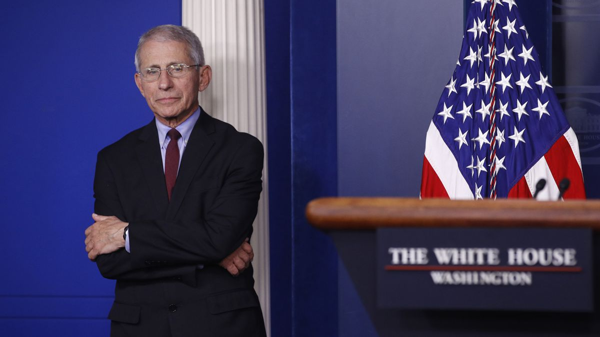 Dr. Anthony Fauci, director of the National Institute of Allergy and Infectious Diseases, waits for a coronavirus task force briefing to begin at the White House, Saturday, April 4, 2020, in Washington. (AP Photo/Patrick Semansky)