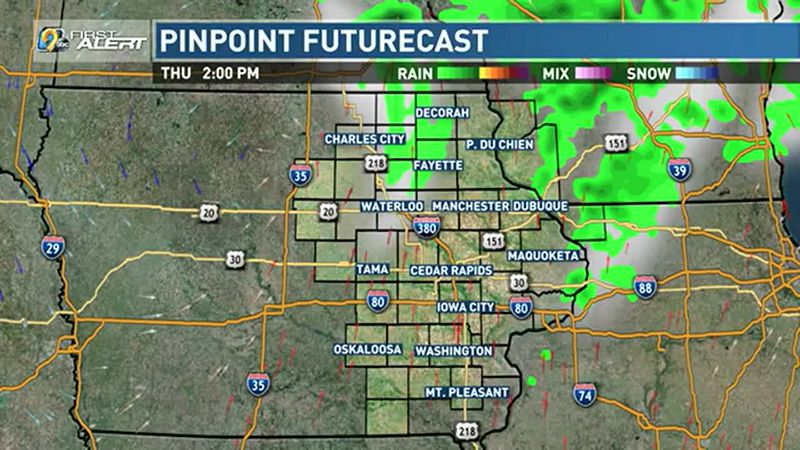 Rain possible north of Highway 20 Thursday.