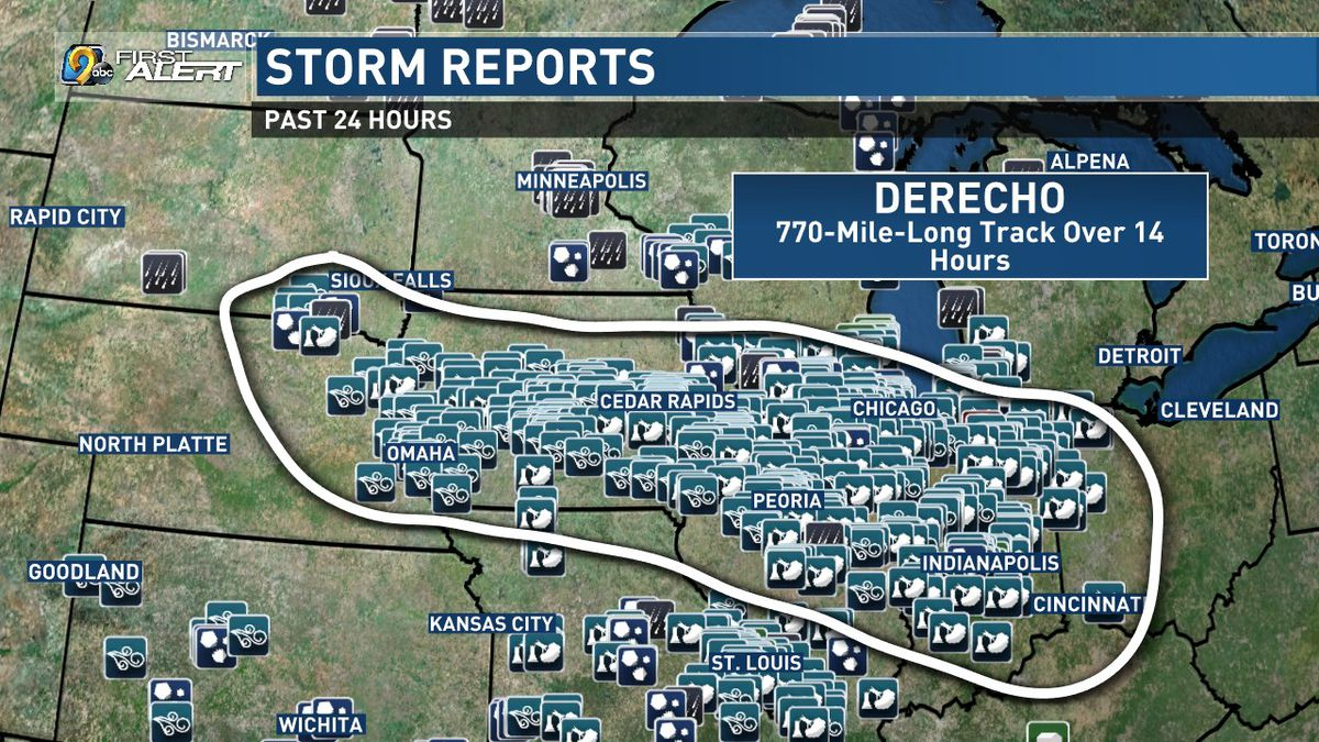 An outline of storm reports associated with a derecho in the Midwest on Monday, August 10, 2020.