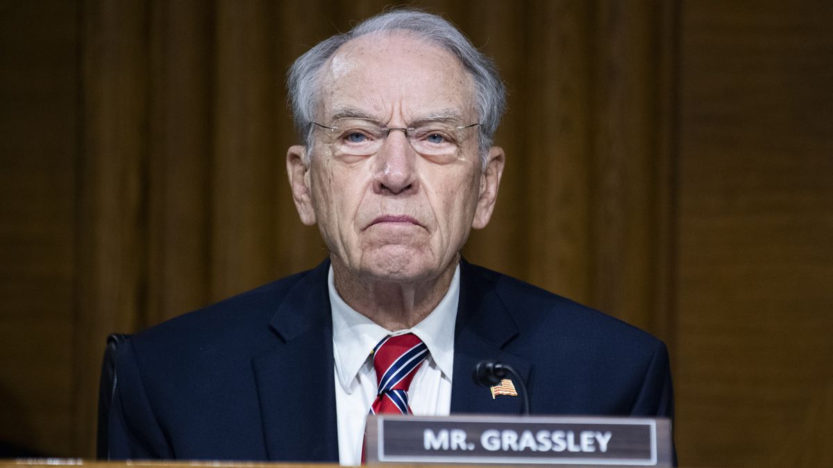 Sen. Chuck Grassley, R-Iowa, listens during a Senate Judiciary Committee hearing examining issues facing prisons and jails during the coronavirus pandemic on Capitol Hill in Washington, Tuesday,  June 2, 2020.