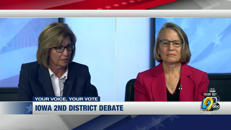 Democrat Rita Hart, left, and Republican Mariannettee Miller-Meets square off during their...