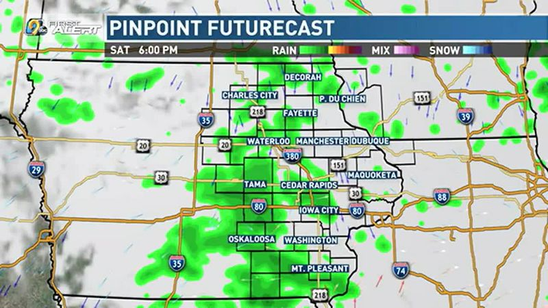 Scattered rain for the beginning of the weekend.