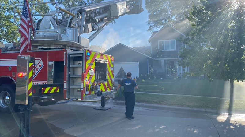 Crews battled a fire in Cedar Rapids that caused damage to two homes on Sunday, June 13, 2021.
