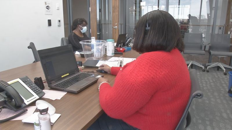 Workers answering calls at the call center