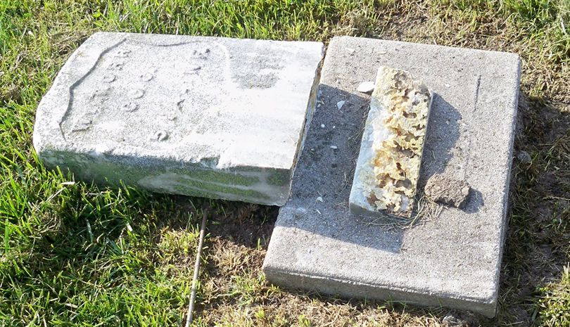Authorities believe headstones at Winterset Cemetery were damaged sometime after 6 p.m. on Sept. 15. (Winterset Police Department/Facebook)
