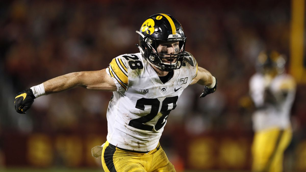 Iowa defensive back Jack Koerner celebrates during the second half of an NCAA college football game against Iowa State, Saturday, Sept. 14, 2019, in Ames, Iowa. Iowa won 18-17.