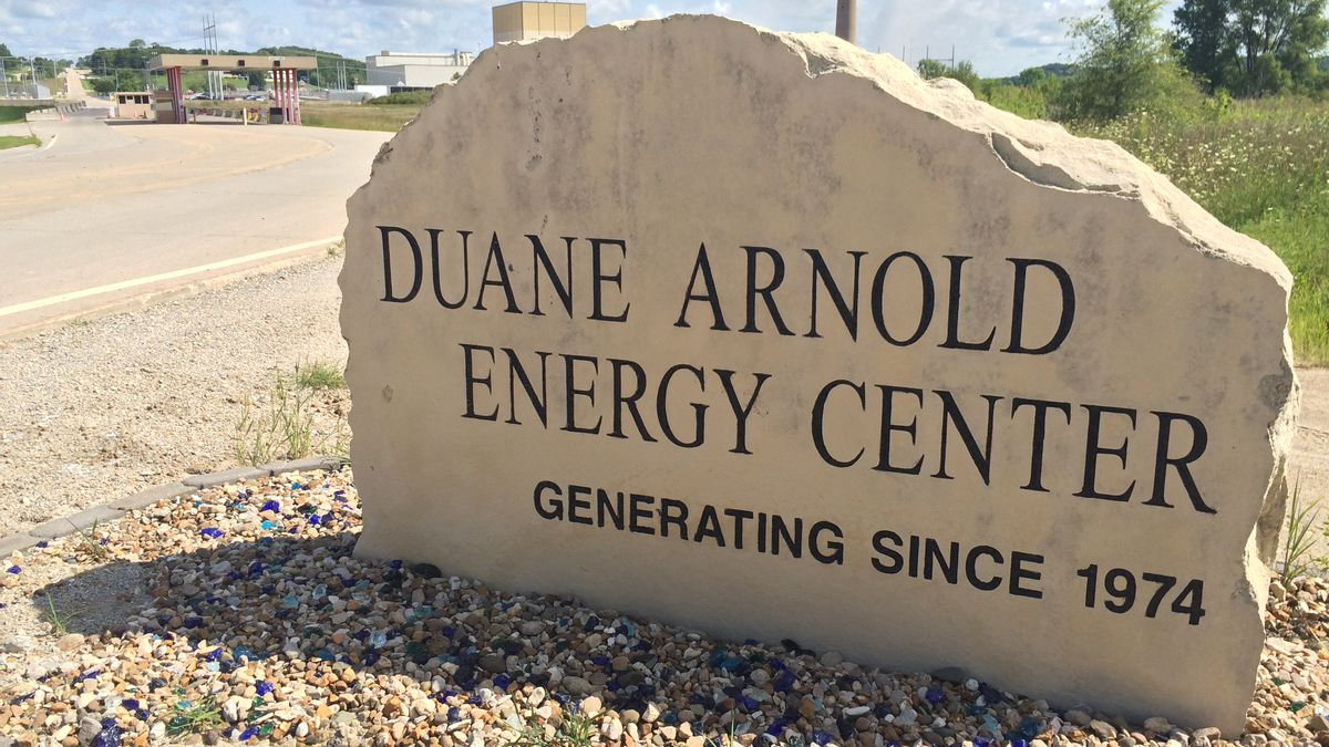 A marker in front of the Duane Arnold Energy Center notes power production started here in 1974.  It will now end in the year 2020.
