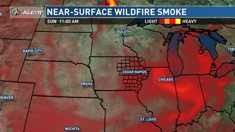 A model forecast for wildfire smoke present near the Earth's surface on Sunday, August 1, 2021.