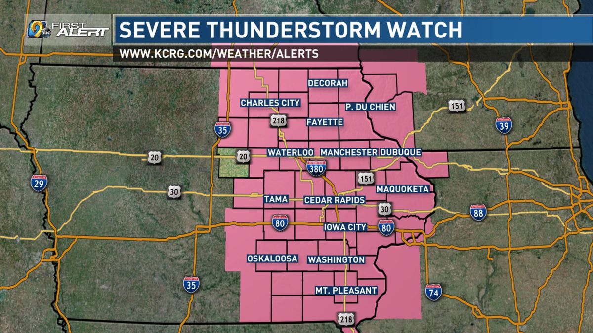 Severe thunderstorm watch on July 9, 2020.