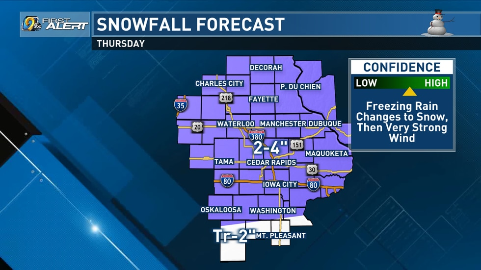Snowfall forecast for February 3, 2021. Last updated on February 2, 2021, at 3 p.m.