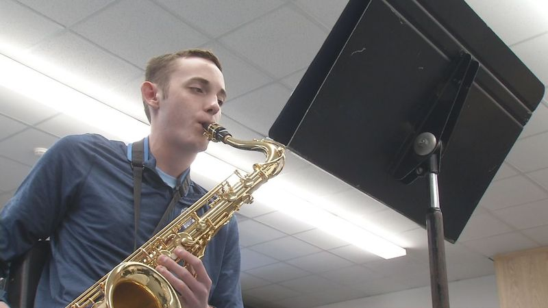 Student of the Month Noah Rich during music practice at WACO Community Schools