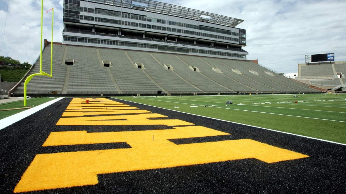 The new FieldTurf in the south end zone of Kinnick Stadium Friday, May 29, 2009 in Iowa City....