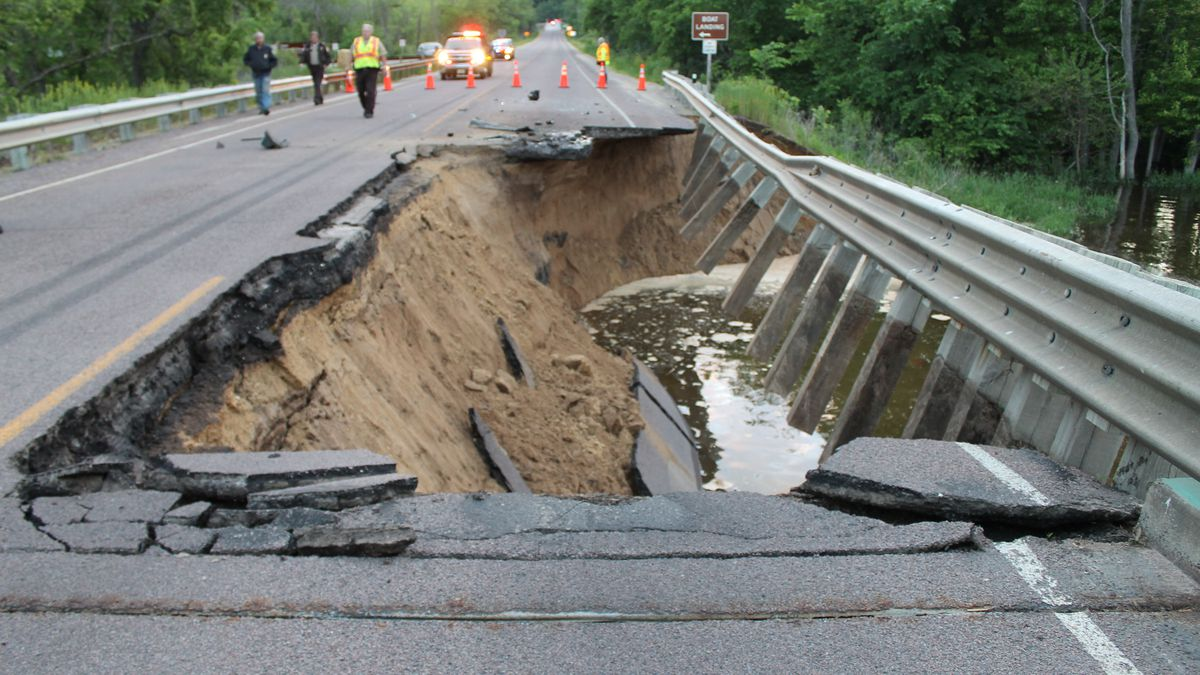 This is the hole left in Highway 82 between Lansing and Wisconsin.  The Crawford County...
