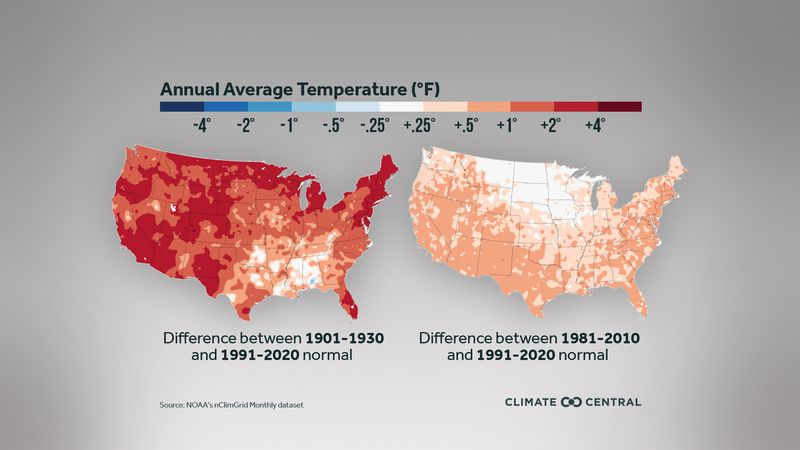 New annual normal changes from NOAA looking at previous 1980-2010 climate normals to new data...