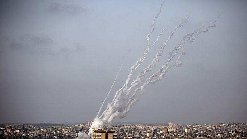 Rockets are launched from the Gaza Strip towards Israel, Monday, May. 10, 2021.