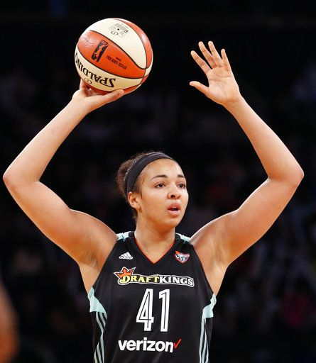 New York Liberty center Kiah Stokes (41) looks to pass in the second half of an WNBA basketball game against the Atlanta Dream in New York, Wednesday, June 7, 2017. (AP Photo/Kathy Willens)