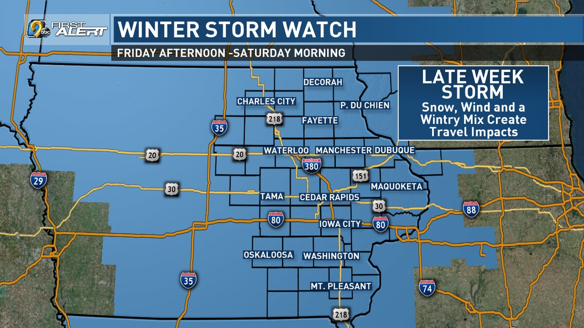 A Winter Storm Watch in effect on Friday, Jan. 17, 2020, and  Saturday, Jan. 18, 2020 (KCRG)