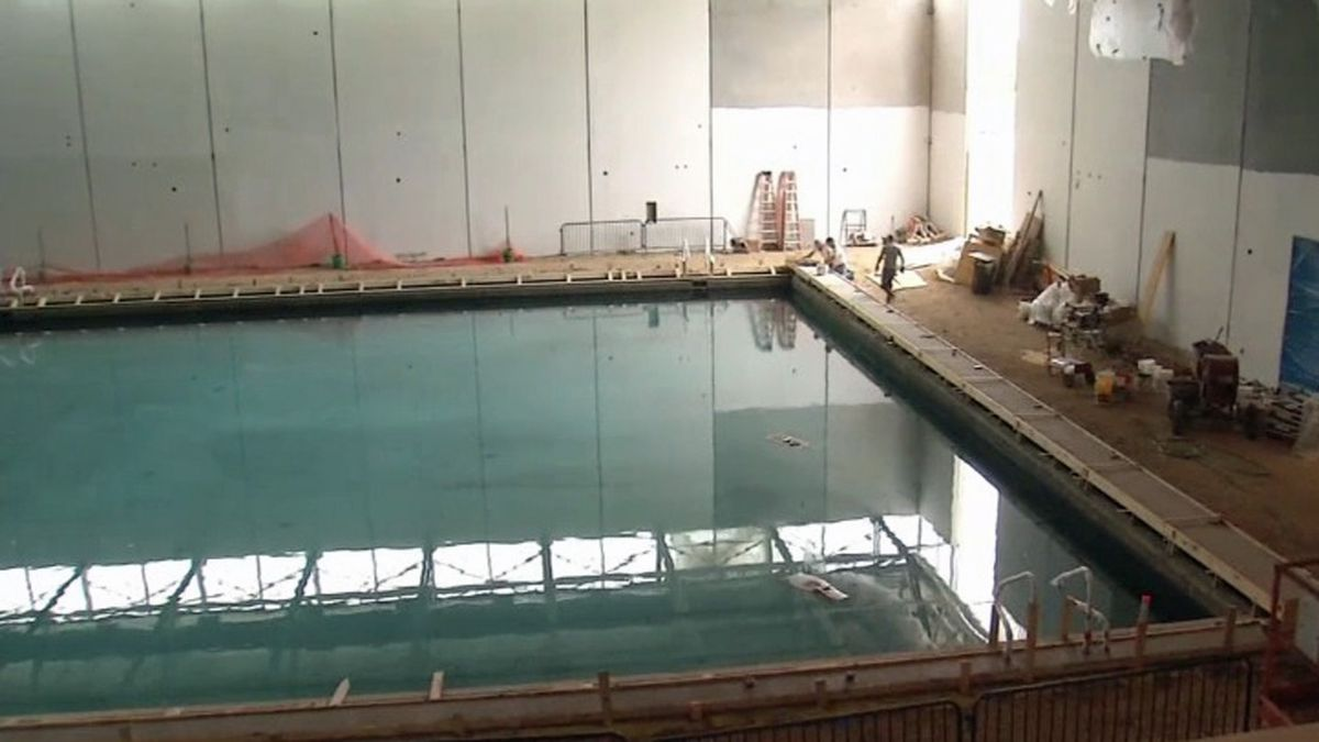 Crews work on the Dubuque School District's aquatic center in an undated photo (KCRG File)