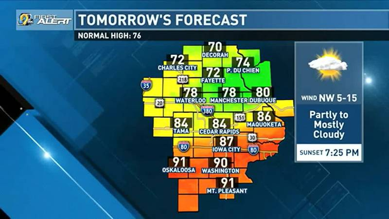A cold front is expected to push through Sunday which could limit highs on Sunday for our...