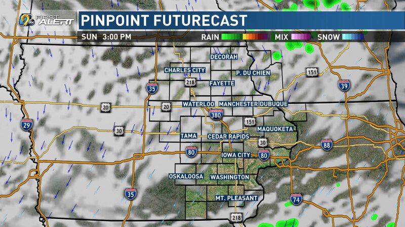 Eastern Iowa dries out with some sun possible later in the day.