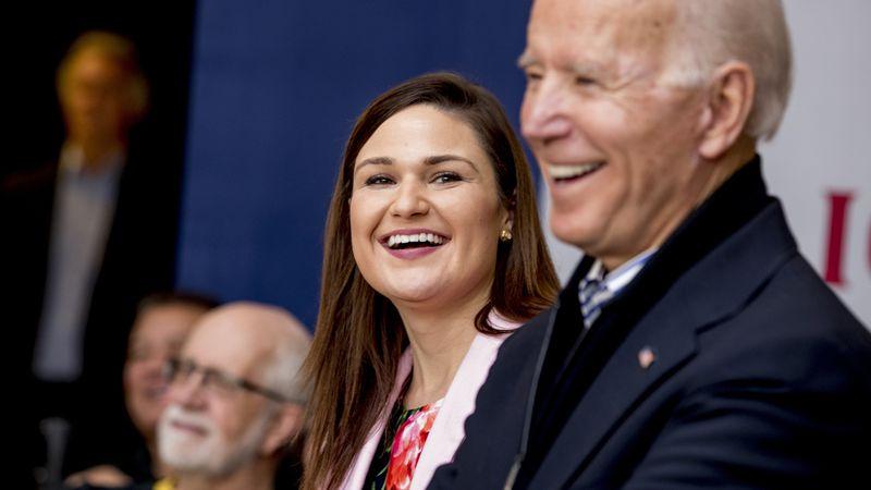 FILE - In this Friday, Jan. 3 2020 file photo Democratic presidential candidate Joe Biden,...