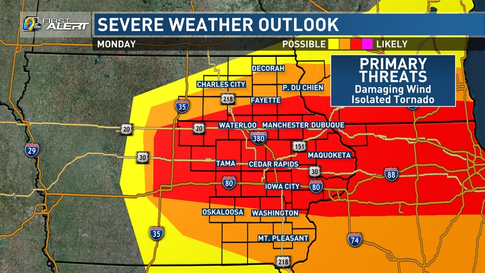 Severe weather outlook for Monday, August 10, 2020. Widespread damaging winds are likely,...
