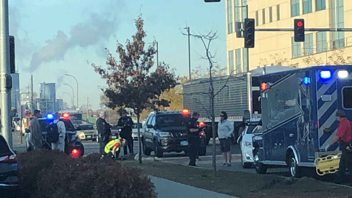 First responders in Cedar Rapids are at the corner of 8th Avenue and 2nd Street SE where they...