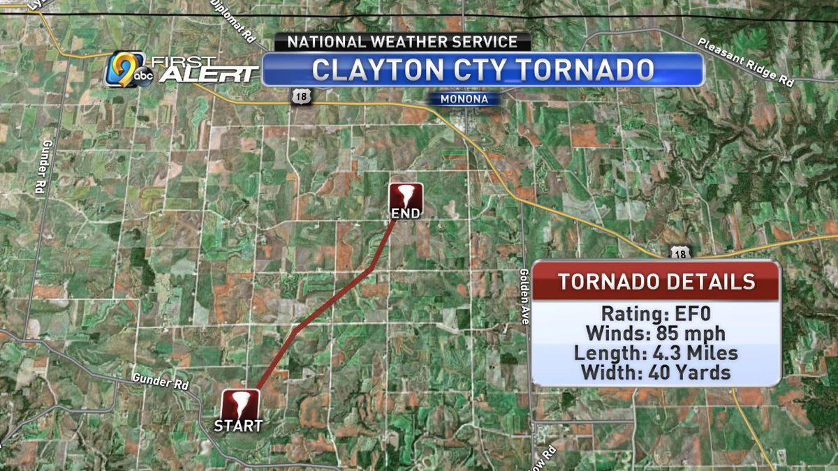 Map showing the path of tornado damage in Clayton County on Thursday, September 12, 2019 (KCRG)