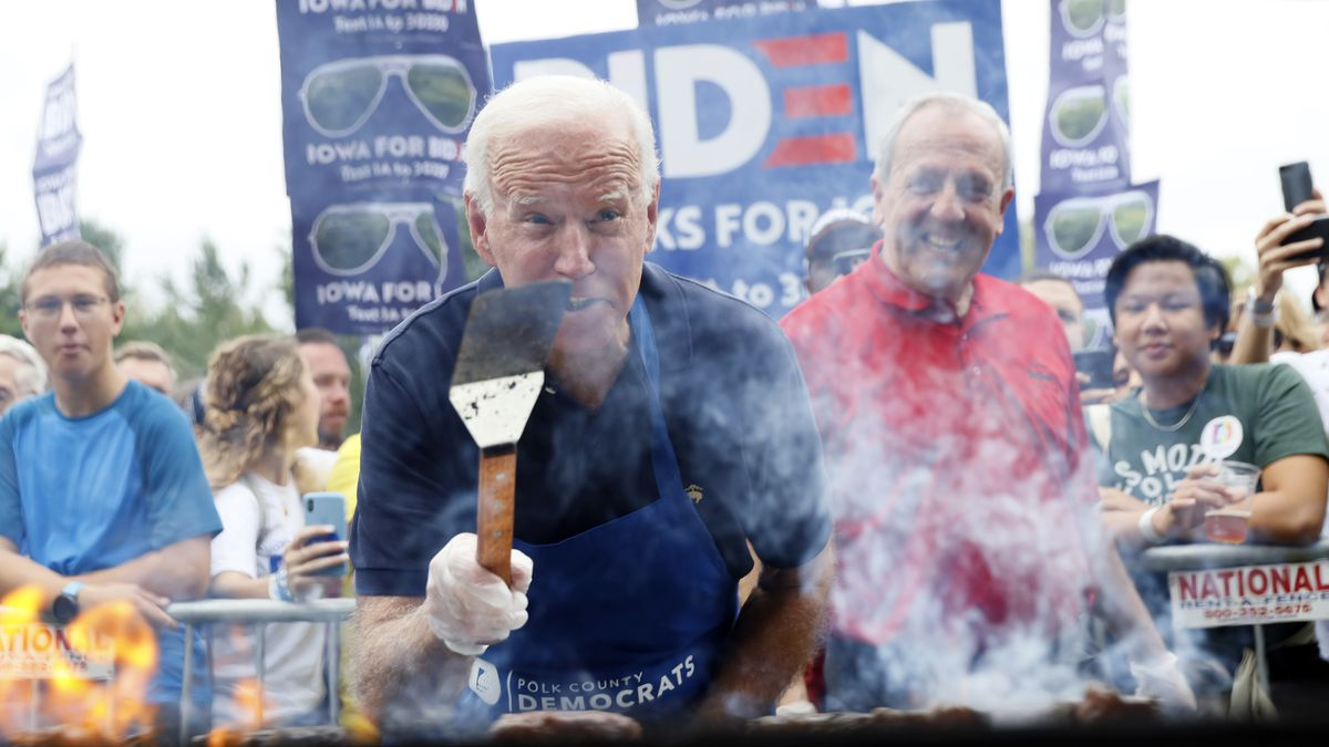 Democratic presidential candidate former Vice President Joe Biden works the grill during the Polk County Democrats Steak Fry, Saturday, Sept. 21, 2019, in Des Moines, Iowa.