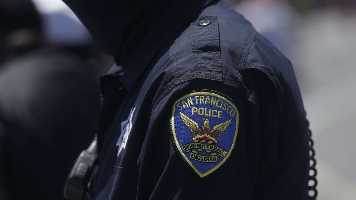 FILE - In this July 7, 2020, file photo a San Francisco Police Department patch is shown on an...
