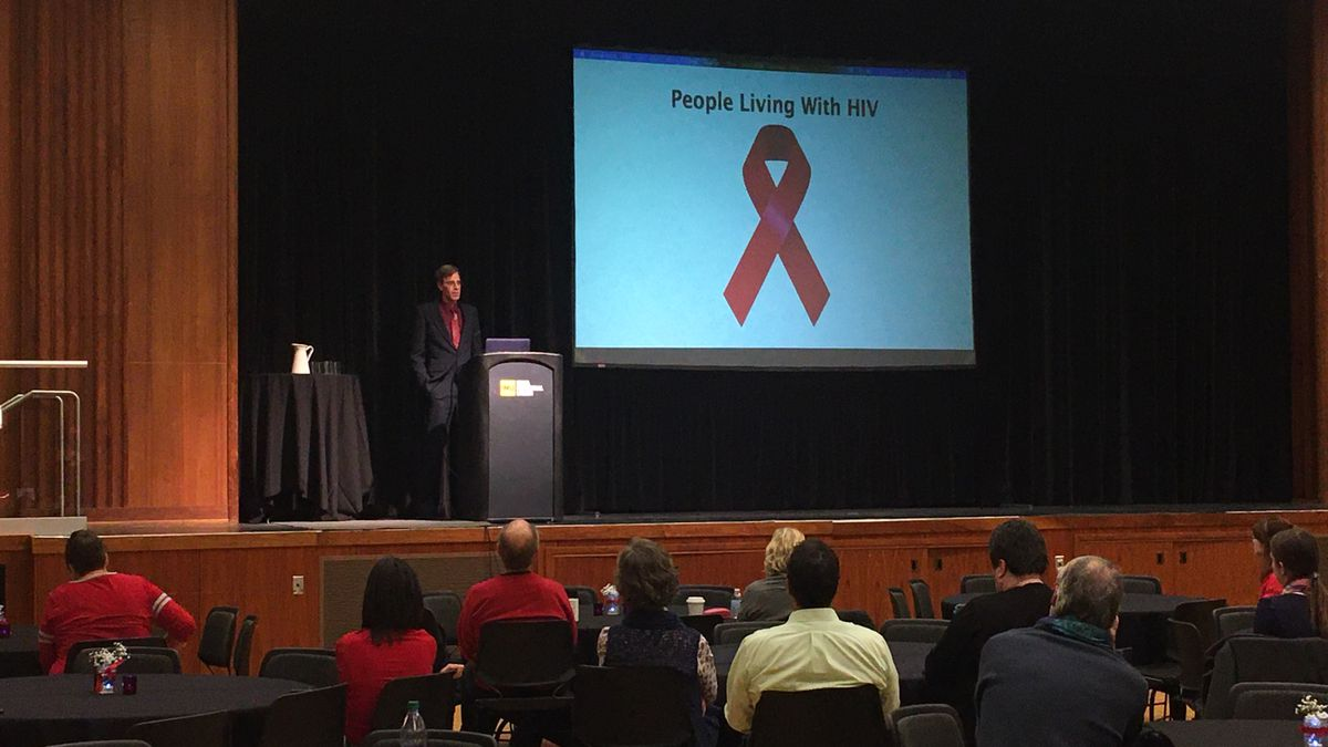Tim Campbell talks about his experience living with HIV at a World AIDS Day event in Iowa City on Dec. 1, 2019. (MARY GREEN/KCRG)