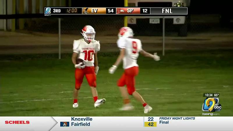 Easton Valley puts on a show under the lights of KCRG 9.2, beating Springville 67-12