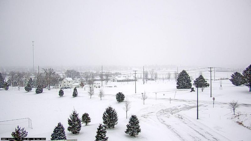 Snowy scene in Vinton, Iowa on January 26, 2021 at 7:35 a.m.