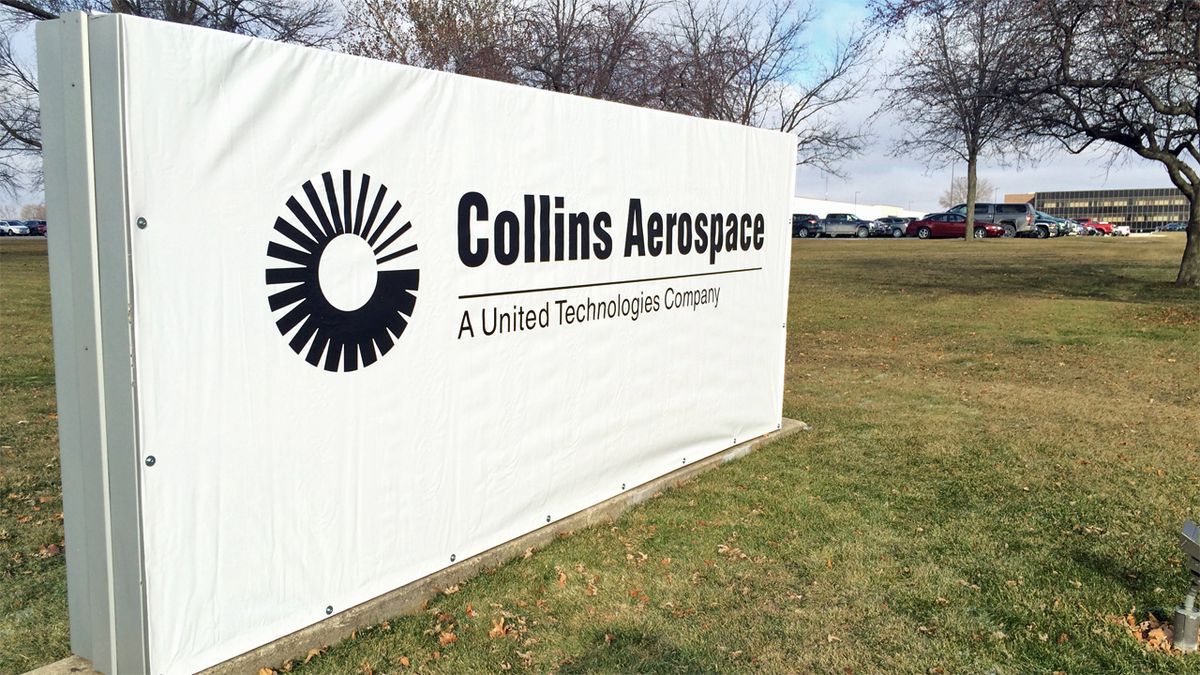 Temporary signs with the new corporate name Collins Aerospace went up at company locations in November 2018 (Dave Franzman/KCRG)