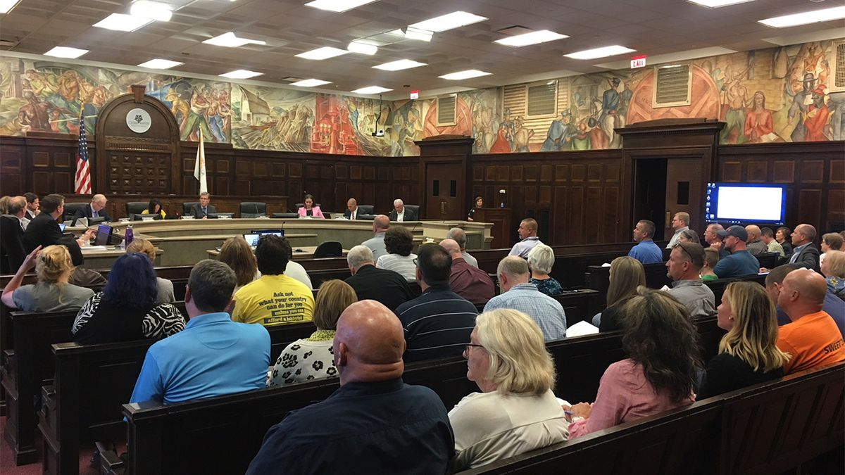 More than 20 people spoke during a public hearing about a proposed Cargill rail yard at the Cedar Rapids city council meeting on August 27, 2019. (Mary Green/KCRG)