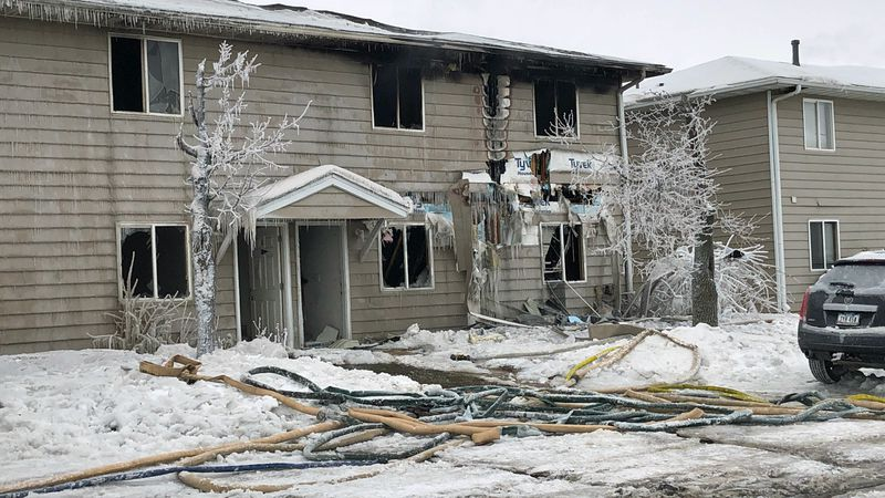The exterior of the building at Westdale Court Apartments in Cedar Rapids after a fire on...