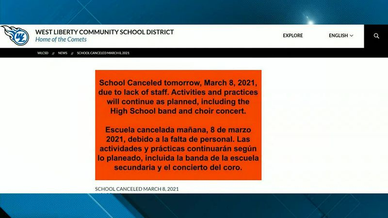 West Liberty school district canceling all Monday classes after staff due to staff members...