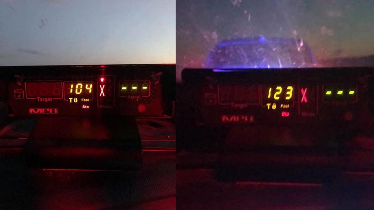 Radar guns show the speeds of two speeders caught in Buchanan County going more than 100 mph in the same week along Highway 20.