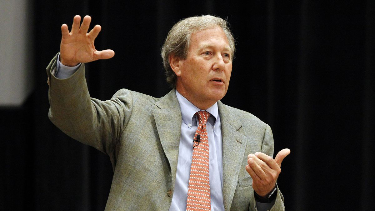 University of Iowa presidential candidate J. Bruce Harreld delivers remarks during the fourth...